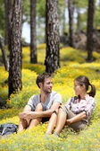 Happy couple in forest — Stock Photo