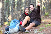 Young happy couple hiking — Stock Photo