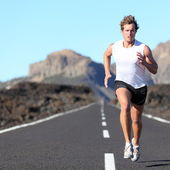 Runner running for Marathon — Stock Photo