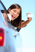 Drivers license car woman — Stok fotoğraf