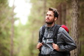 Hiker - man hiking in forest — Stock Photo