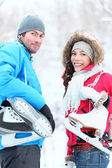Ice skating winter couple — Stock Photo