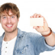 Man showing business card sign — Stock Photo