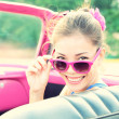 Vintage woman in retro car — Foto de Stock