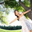 Spring girl happy — Stock Photo