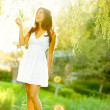 Spring woman in summer dress — Stock Photo