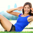 Stock Photo: Exercise wom- sit ups workout