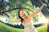 Playful girl in park — Stock Photo