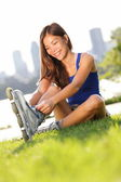 Rollerblades or roller skating woman — Stockfoto