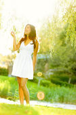 Spring woman in summer dress — Foto de Stock