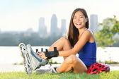 Roller skate girl skridskor — Stockfoto