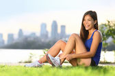 Woman runner happy — Stock Photo