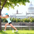 City runner workout woman stretching — Stock Photo