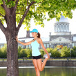 Woman runner in Montreal — Stock Photo