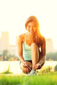 Woman running workout — Stock Photo
