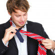 Necktie - man can not tie his tie — Stock Photo