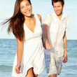 Beach couple happy — Stock Photo