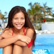 Vacation girl at pool — Stock Photo