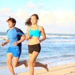 Sport couple running fitness — Stock Photo