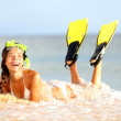 Water snorkeling fun beach woman laughing — Stock Photo