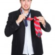 Man tying a tie - funny — Stock Photo