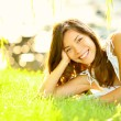 Summer girl in grass — Stock Photo
