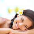 Woman natural beauty relaxing at outdoor spa — Stock Photo