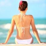 pláž dovolená žena — Stock fotografie