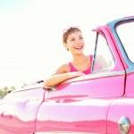 Vintage retro car woman — Stock Photo