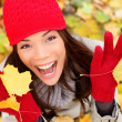 Stock Photo: Happy autumn woman