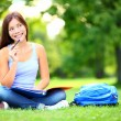 Student thinking looking in park — Stock Photo #24538395