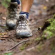 Hiker - hiking shoes closeup from hike walk — Stock Photo