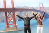 San Francisco happy at Golden Gate Bridge — Stock Photo