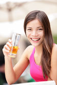 Happy cafe woman drinking drink — Stock Photo