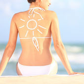 Sunscreen, sun tan lotion — Stock Photo