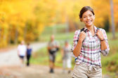 Autumn hiking girl — Stock Photo