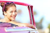 Car woman happy in vintage car — Stock Photo