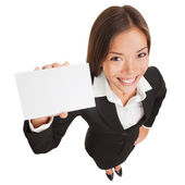 Business woman showing blank card sign — Stock Photo