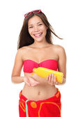 隔离防晒霜夏季度假女人 — 图库照片