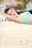 Beach lifestyle woman in hammock — Stock Photo
