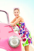 Vintage woman and car — Stock Photo