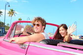 Couple happy in vintage retro car — Stok fotoğraf