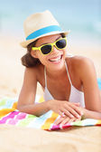 Beach travel woman smiling — Stock Photo