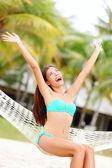 Vacation woman on beach — Stock Photo