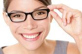 Brillen glazen vrouw gelukkig — Stockfoto