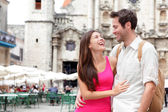 Tourists - happy couple — Stock Photo