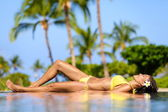 Beautiful vacation woman relaxing at a spa resort — Stock Photo