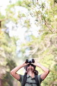 Binoculars - man hiker looking up — Stock Photo
