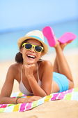 Beach woman laughing fun in summer — Stok fotoğraf