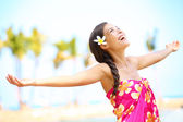 Free happy elated beach woman in freedom joy concept — 图库照片